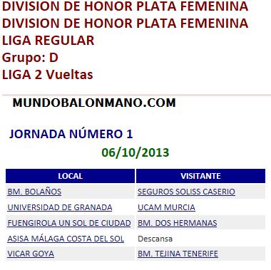 DIVSION DE PLATA FEMENINO JORNADA 1